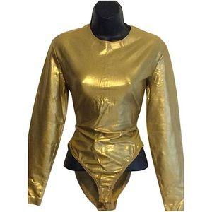 Donna Karan Vintage Metallic Gold BodySuit